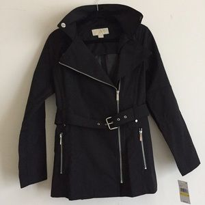 New MICHAEL Kors Asymmetrical Belted Trench Jacket